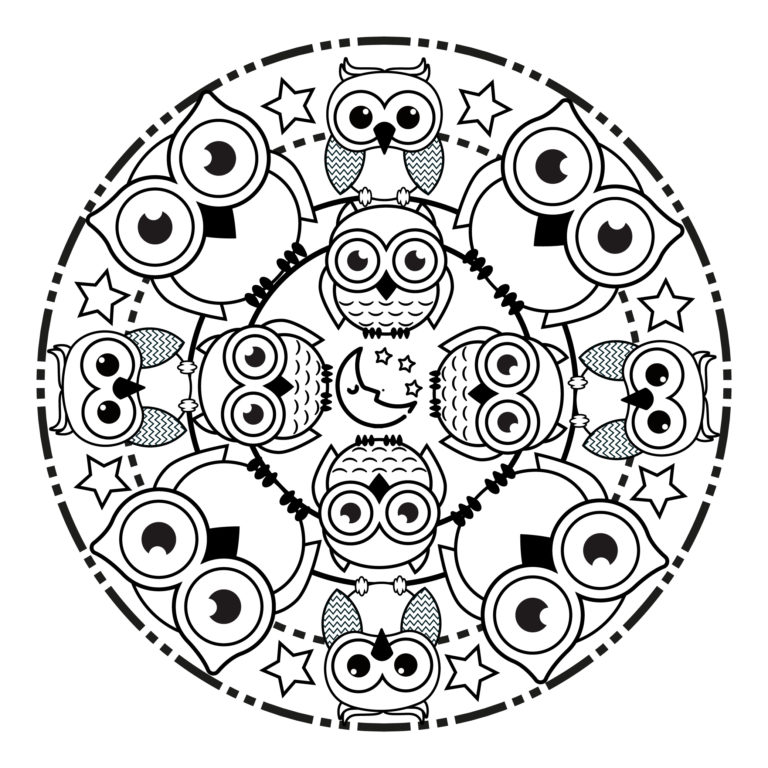 Mandala De Búho Fácil Imprime Mandalas
